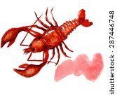 watercolor lobster.  simple... | Shutterstock .eps vector #287446748