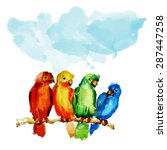 parrot on a branch. watercolor...   Shutterstock .eps vector #287447258