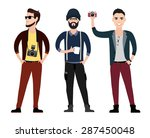 fashionable young men hipster... | Shutterstock .eps vector #287450048