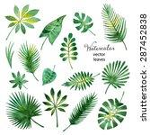 set of watercolor green leaves... | Shutterstock .eps vector #287452838