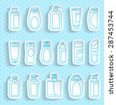 shampoo and bath lotion bottles.... | Shutterstock .eps vector #287453744