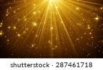 gold light rays and stars... | Shutterstock . vector #287461718