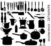 kitchen tools silhouette ... | Shutterstock . vector #287469698