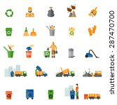 garbage and trash flat icons... | Shutterstock .eps vector #287470700