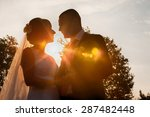 bride and groom silhouettes in... | Shutterstock . vector #287482448