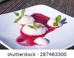 whipped rhubarb semolina... | Shutterstock . vector #287483300