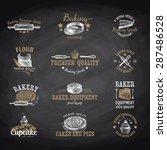 vector set of bakery logos ... | Shutterstock .eps vector #287486528