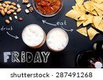 beer and snacks on black...   Shutterstock . vector #287491268