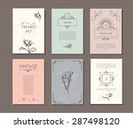 vintage elegant cards. roses  ... | Shutterstock .eps vector #287498120