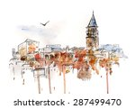 Hand Drawn Watercolor Cityscap...