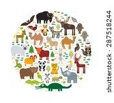 eurasia animal bison bat fox... | Shutterstock .eps vector #287518244