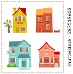 two story houses   cartoon set... | Shutterstock .eps vector #287519603