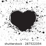 hand drawn painted black heart  ...