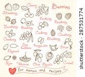 set drawings of berries for...   Shutterstock .eps vector #287531774