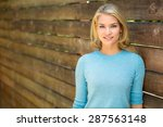 pretty blonde single woman... | Shutterstock . vector #287563148