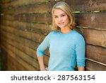 pretty blonde single woman... | Shutterstock . vector #287563154