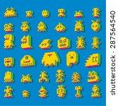 three dimensional pixel aliens | Shutterstock .eps vector #287564540