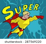 super hero wearing bright red... | Shutterstock .eps vector #287569220