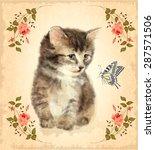 vintage card with fluffy kitten ... | Shutterstock .eps vector #287571506
