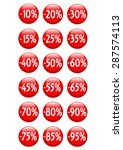 glossy red buttons showing... | Shutterstock . vector #287574113