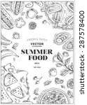 vertical summer food frame.... | Shutterstock .eps vector #287578400
