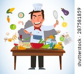 smart chef character cooking... | Shutterstock .eps vector #287581859