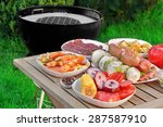 close up view on wood picnic... | Shutterstock . vector #287587910