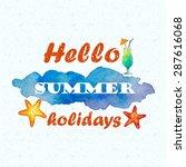 watercolor blue spot  beach... | Shutterstock .eps vector #287616068