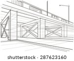 linear architectural sketch... | Shutterstock .eps vector #287623160