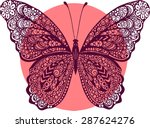 Stock vector hand drawn vector zentangle butterfly illustration decorative abstract doodle design element 287624276