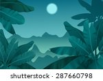 tropical jungle. night | Shutterstock .eps vector #287660798