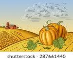 pumpkin harvest landscape.... | Shutterstock .eps vector #287661440