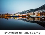 famous bryggen street with... | Shutterstock . vector #287661749