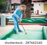 cute little girl playing golf | Shutterstock . vector #287662160
