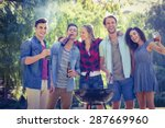 happy friends in the park... | Shutterstock . vector #287669960