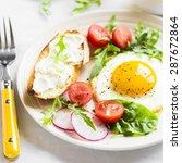 Fried Egg  Vegetable Salad And...
