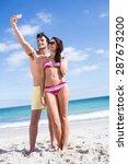 happy couple taking selfie at... | Shutterstock . vector #287673200