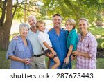 happy family smiling at the... | Shutterstock . vector #287673443