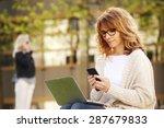 portrait of busy sales woman... | Shutterstock . vector #287679833