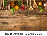 various colorful spices on... | Shutterstock . vector #287683388