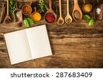 blank cookbook and spices on... | Shutterstock . vector #287683409