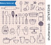 set of hand drawn kitchen items