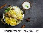 chicken biryani with yogurt dip ... | Shutterstock . vector #287702249