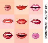 set of beautiful female lips... | Shutterstock .eps vector #287704184