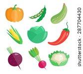 set of fresh vegetables for... | Shutterstock .eps vector #287704430