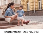girl and mother have fun with... | Shutterstock . vector #287707643