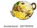 Chicken biryani isolated on white, selective focus