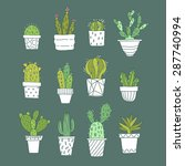 cute hand drawn vector cactuse... | Shutterstock .eps vector #287740994