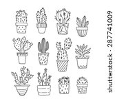 cute hand drawn vector cactuse... | Shutterstock .eps vector #287741009
