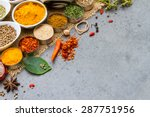 group of indian spices and... | Shutterstock . vector #287751956